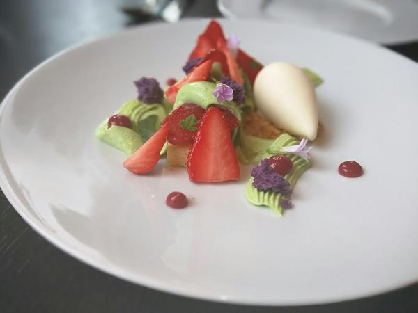 Spring Tart (c.1720) Strawberries, rose, lovage and basil yogurt & goats milk ice cream